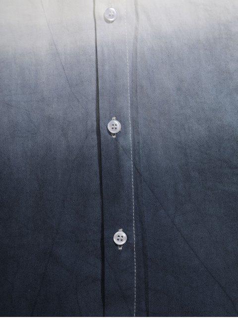 Camisa Asimétrica de Manga Larga con Estampado Degradado - Blanco M Mobile