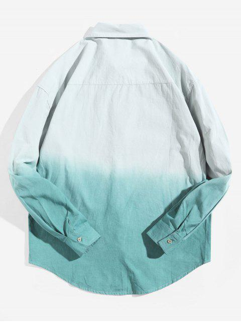 affordable Ombre Print Long Sleeve Curved Hem High Low Shirt - GREEN XS Mobile