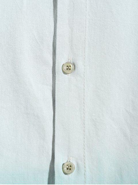 Chemise Haute Basse Ombrée Imprimée à Ourlet Incurvé à Manches Longues - Vert XS Mobile