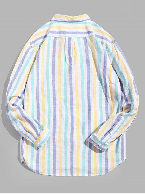 縞模様の印刷長袖ポケットシャツ - マルチ L Mobile