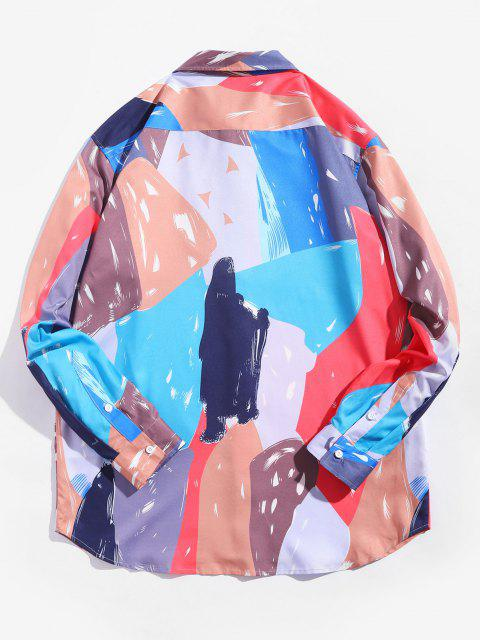 Camisa Casual de Manga Larga de Color Empalmado - Multicolor L Mobile