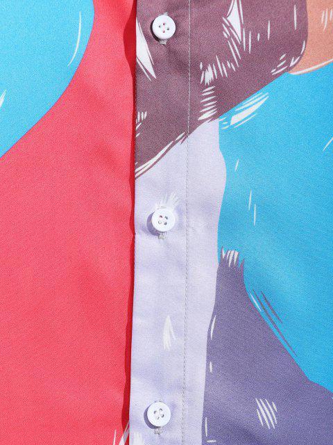 色スプライス長袖カジュアルシャツ - マルチ XL Mobile