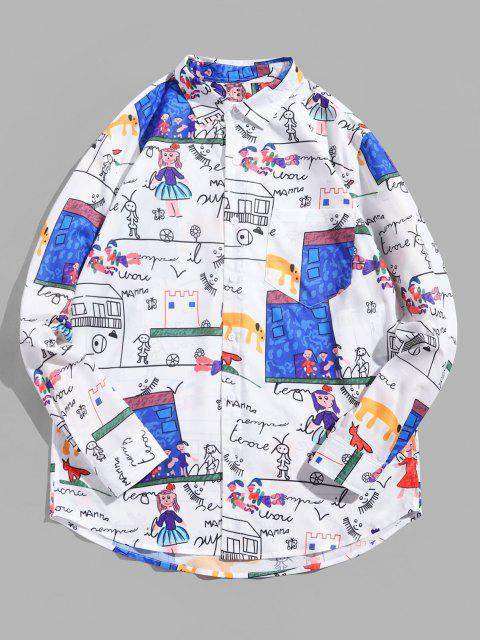 outfit Cartoon Letter Print Full Sleeves Shirt - MULTI M Mobile