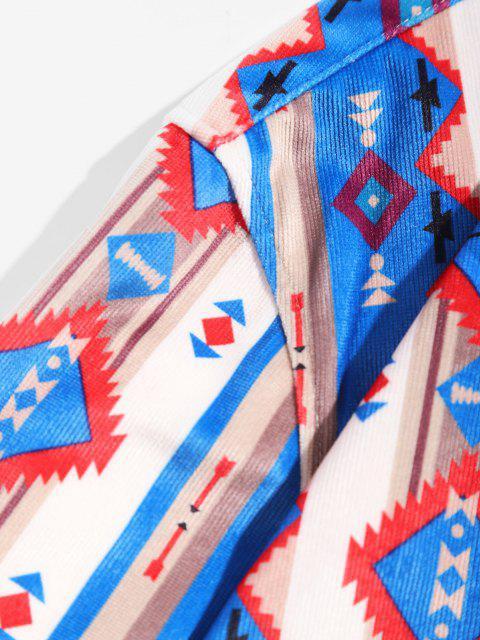 ladies Tribal Print Pocket Design Long-sleeved Shirt - MULTI M Mobile