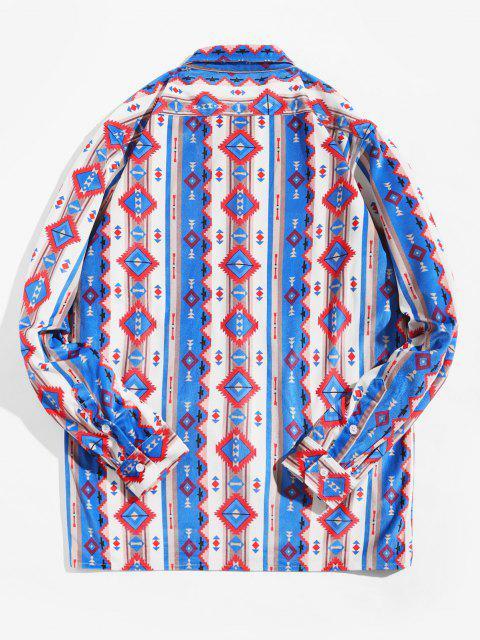 lady Tribal Print Pocket Design Long-sleeved Shirt - MULTI L Mobile