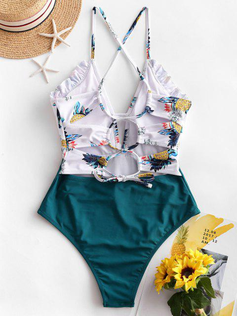 buy ZAFUL Lace-up Frilled Pineapple One-piece Swimsuit - PEACOCK BLUE S Mobile