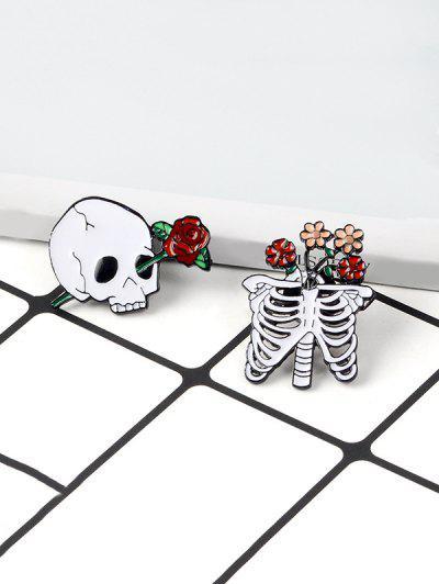 Conjunto De Broche De Esqueleto Floral - Branco