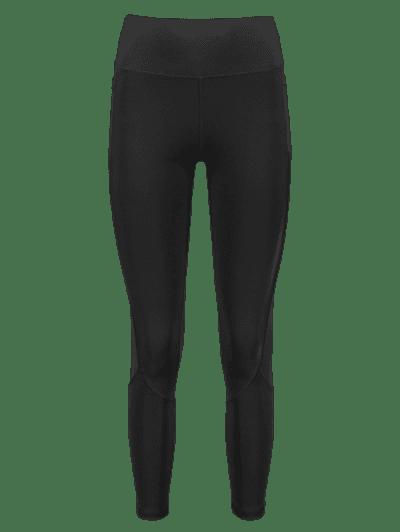 Side Pockets Mesh Insert High Waisted Leggings, Black