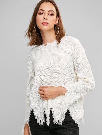 ZAFUL Sharkbite Trim Frayed Drop Shoulder Sweater - White