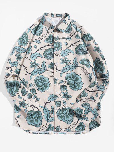 Flower Leaf Printed Long-sleeved Shirt - Multi 2xl