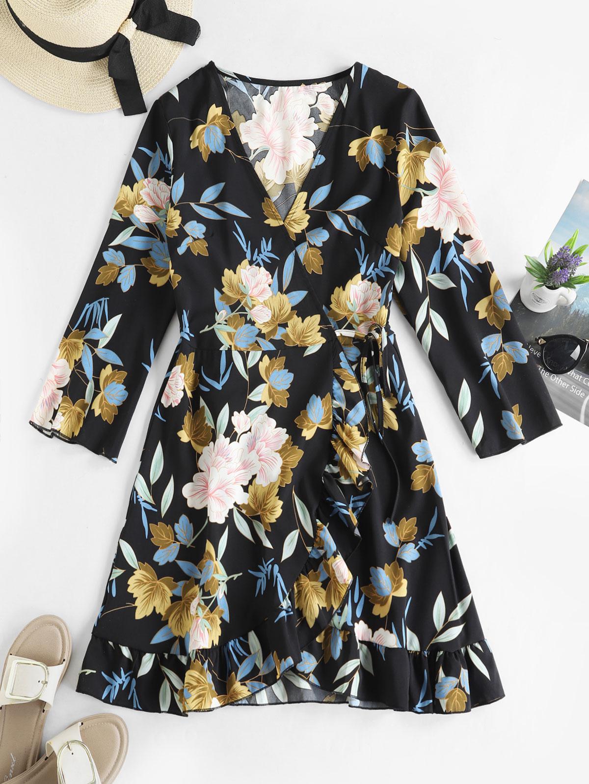 Floral Ruffles Long Sleeve Wrap Dress, Multi-a