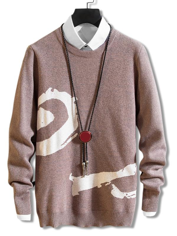 Rib-knit Trim Pullover Crew Neck Graphic Sweater, Camel brown