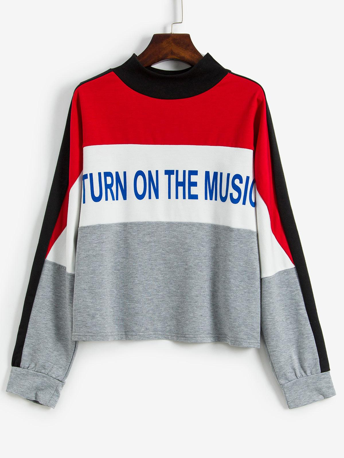 Colorblock Letter Graphic Loose Sweatshirt