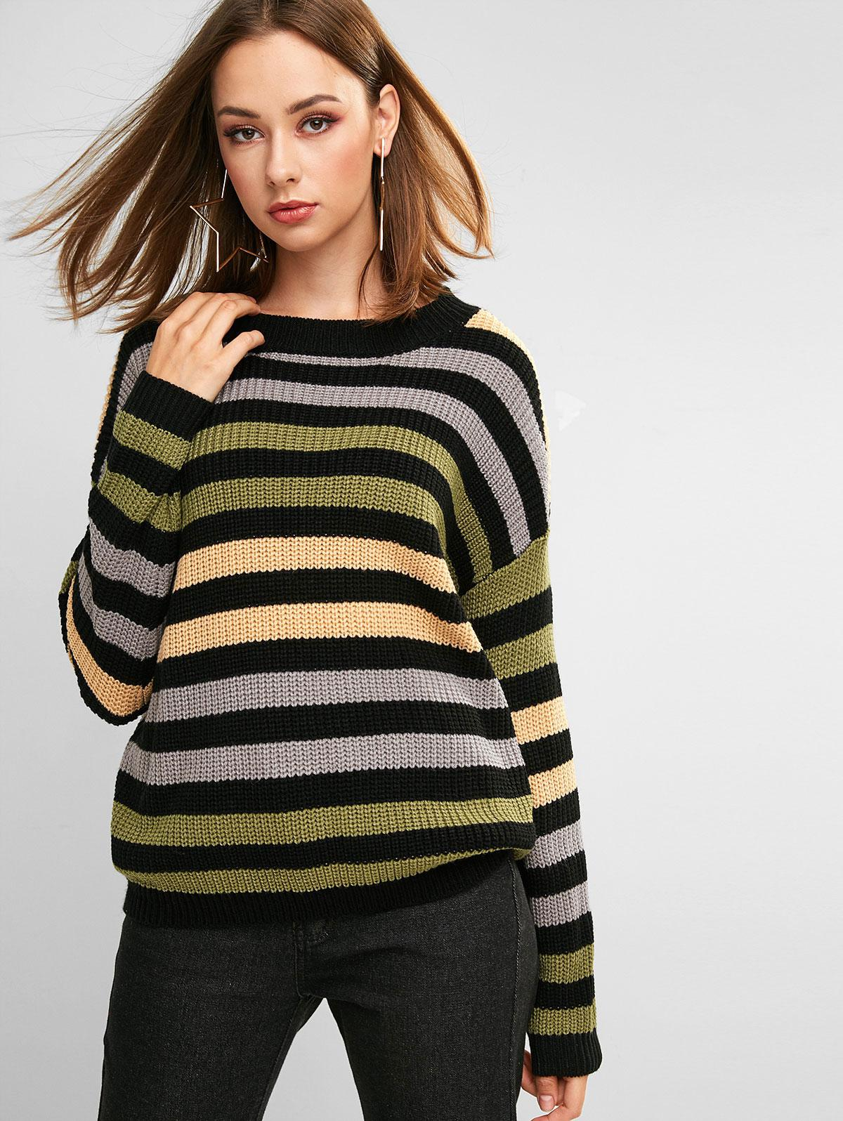 ZAFUL Striped Textured Drop Shoulder Sweater