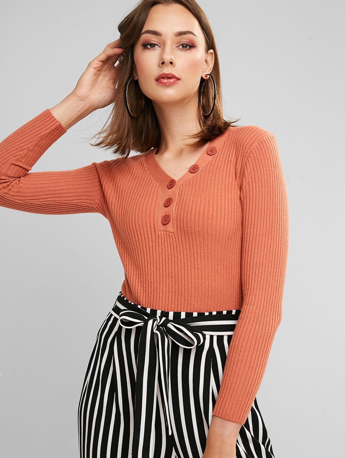 V Neck Henley Pullover Knitwear