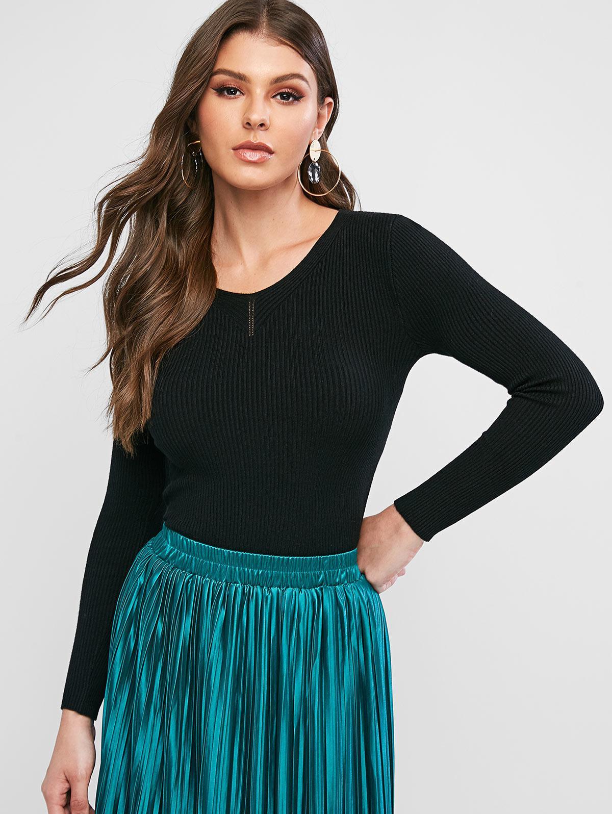 Ribbed Slim Knitted V Neck Sweater