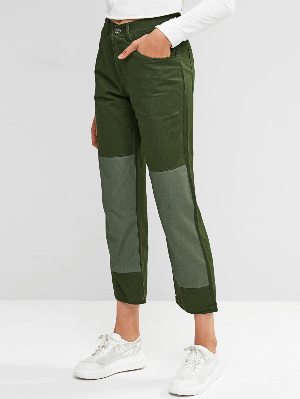 Two Tone Zip Fly Pocket Chino Pants, Army green