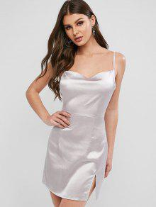 ZAFUL الحرير كامي الشق اللباس البسيطة - فضة S