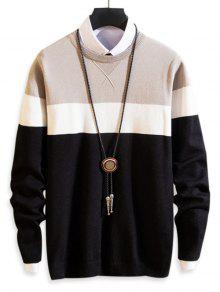 Colorblock Splicing Round Neck Pullover Sweater