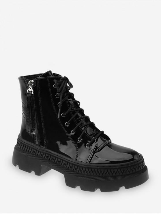 chic Plain Patent Leather Platform Ankle Boots - BLACK EU 39