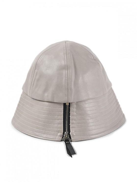 Sombrero de cubo de cuero de PU con diseño de cremallera - Beige