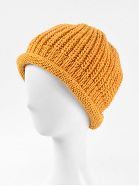 womens Winter Solid Knitted Simple Soft Hat - YELLOW