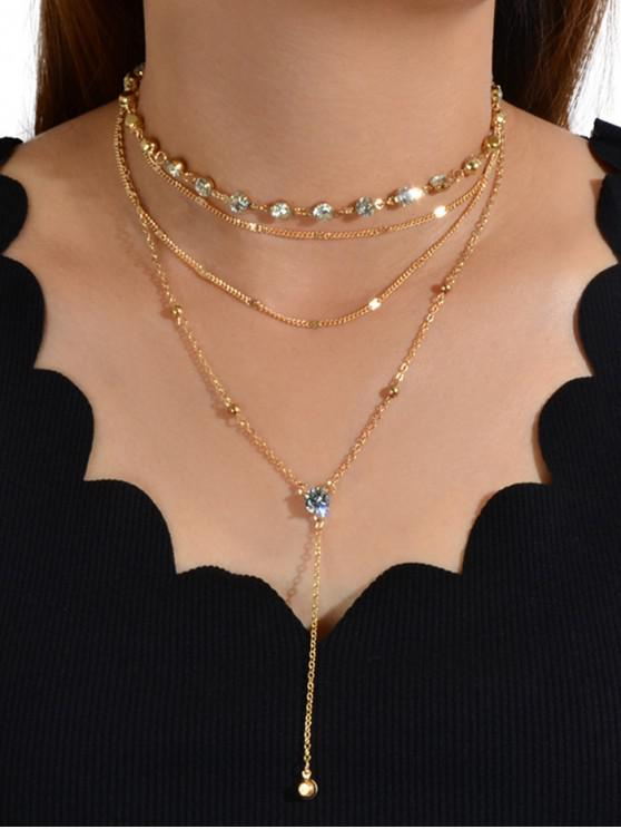 outfit 2Pcs Rhinestone Chain Layered Necklace Set - GOLD