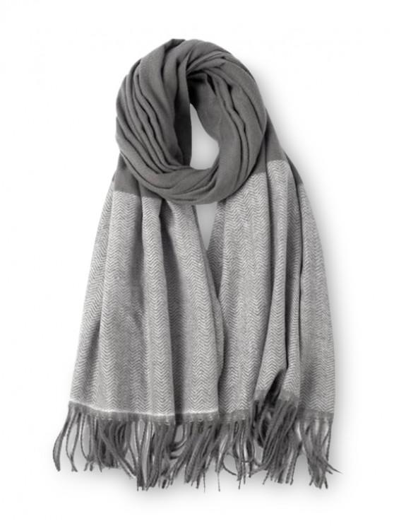 chic Double Color Fringe Long Scarf - GRAY