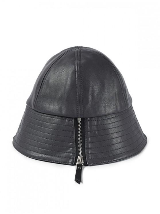 Sombrero de cubo de cuero de PU con diseño de cremallera - Gris