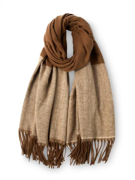 womens Double Color Fringe Long Scarf - LIGHT BROWN