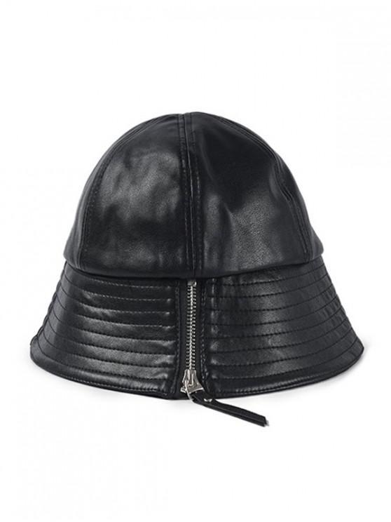 unique Zipper Design PU Leather Bucket Hat - BLACK