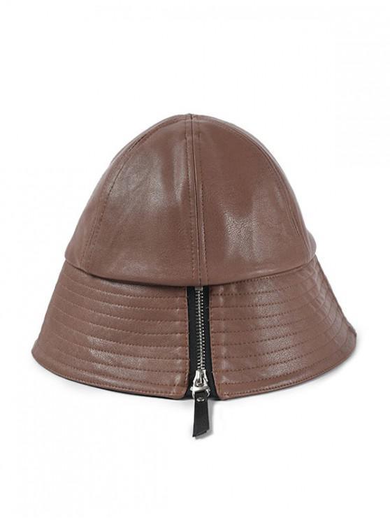 Sombrero de cubo de cuero de PU con diseño de cremallera - Café