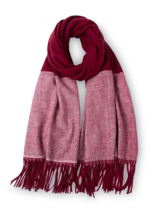lady Double Color Fringe Long Scarf - RED WINE