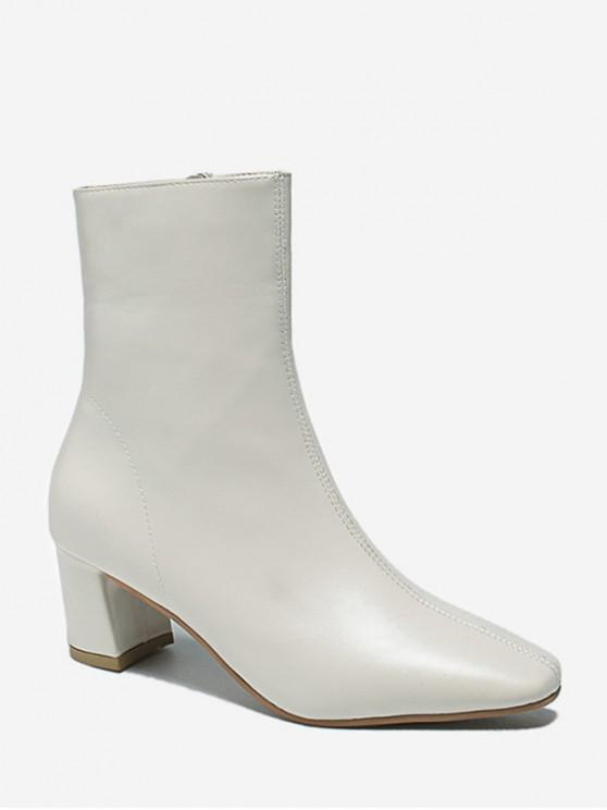 latest PU Square Toe Chunky Heel Solid Boots - WHITE EU 35