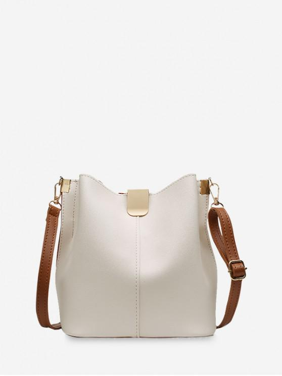 affordable Solid PU Leather Bucket Bag - WARM WHITE
