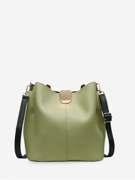 buy Solid PU Leather Bucket Bag - GREEN ONION