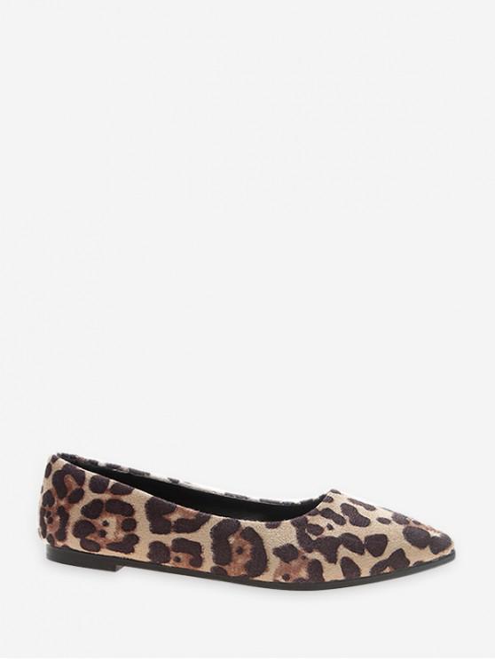 С леопардовым принтом Острый носок Плоские Туфли - Бежевый ЕС 38