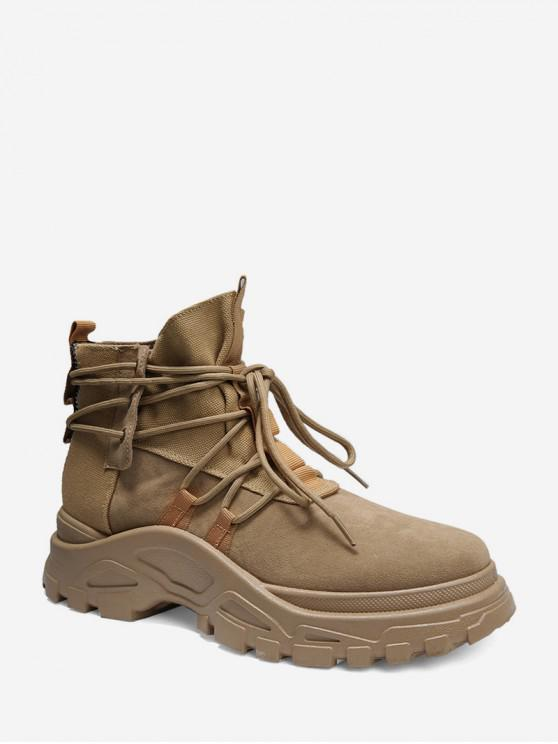 unique Lace Up High Top Platform Cargo Shoes - KHAKI EU 40