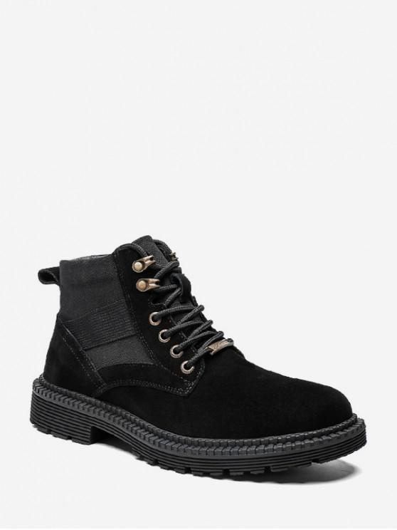shops Casual Patch Suede Mid Top Cargo Shoes - BLACK EU 40