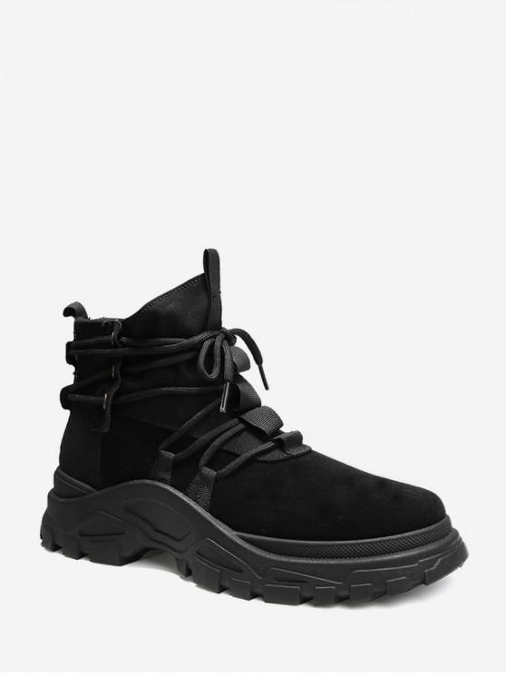 fancy Lace Up High Top Platform Cargo Shoes - BLACK EU 42