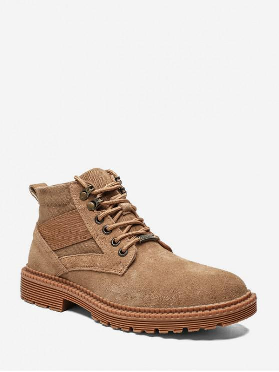 sale Casual Patch Suede Mid Top Cargo Shoes - BROWN EU 43