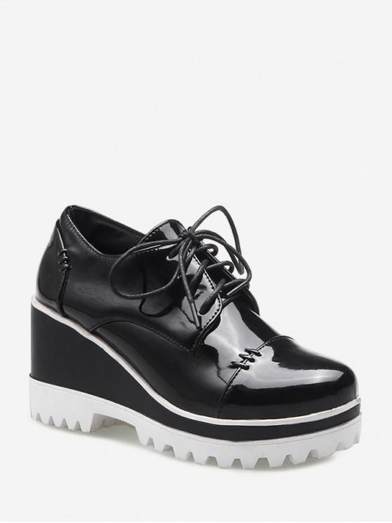 Zapatos de tacón de cuña con cordones de piel sintética WHITE BLACK RED WINE