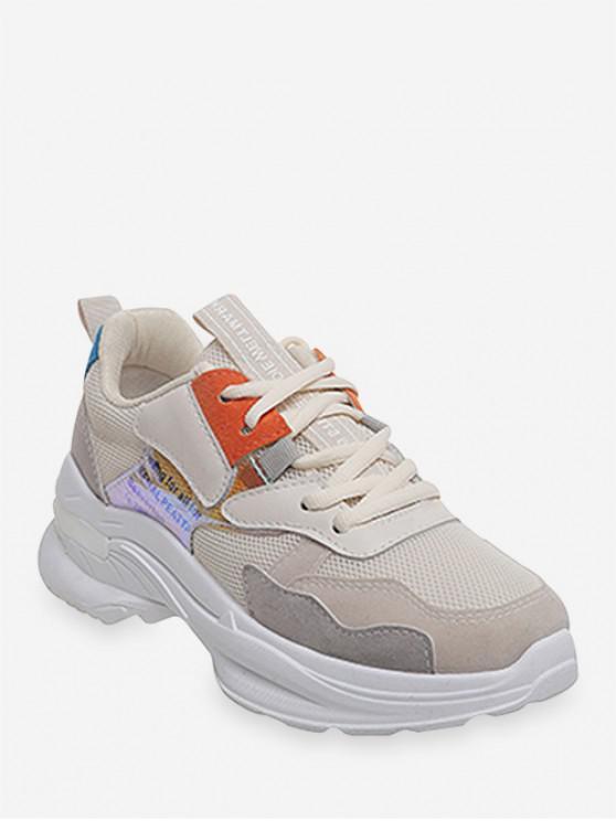 best Laser Letter Panel Breathable Dad Sneakers - PAPAYA ORANGE EU 35