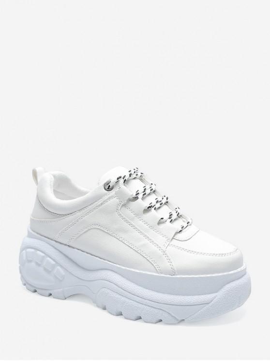 Sneakers Plateforme Décontractées à Lacets - Blanc EU 37