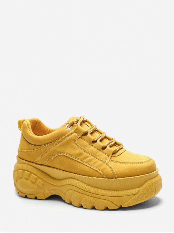 ladies Casual Lace Up Platform Dad Sneakers - BEE YELLOW EU 41