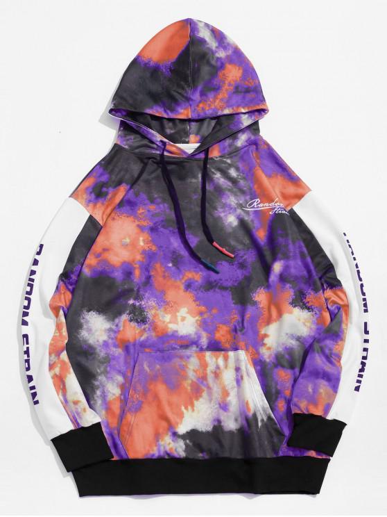 shop Letter Print Tie Dye Pullover Hoodie - MULTI-B XL