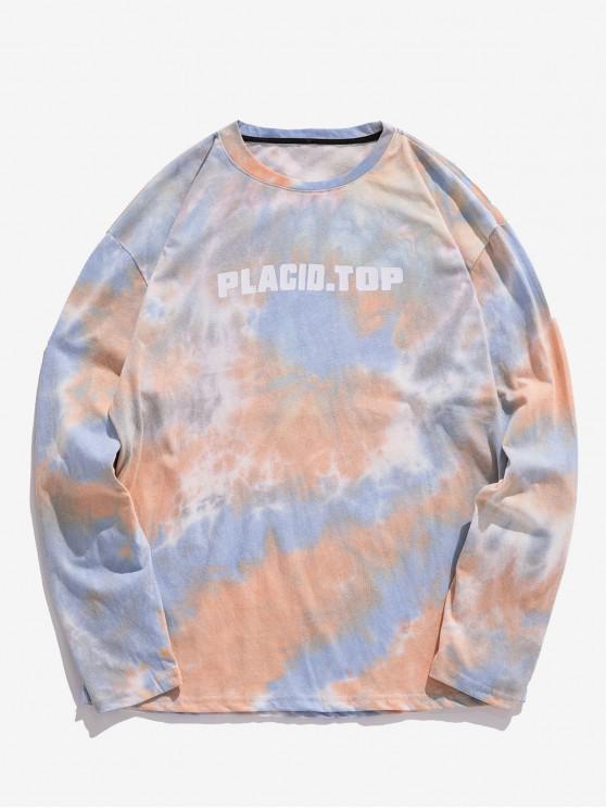 latest Letter Tie Dye Print Long Sleeves T-shirt - DEEP PEACH S