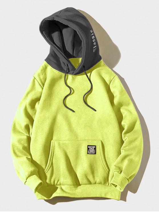 hot Color-blocking Letter Patch Detail Pouch Pocket Fleece Hoodie - GREEN YELLOW XL