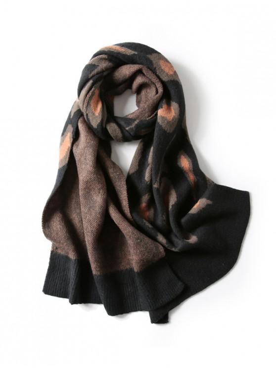 shops Leopard Pattern Winter Long Shawl Scarf - BLACK