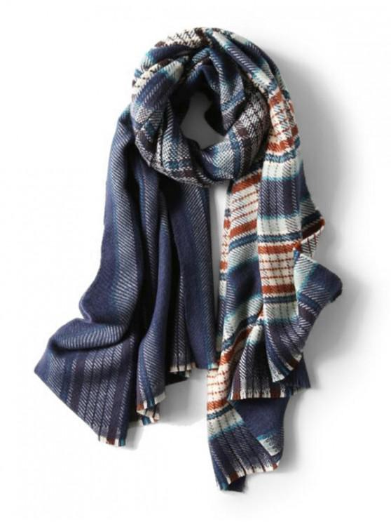 outfit Plaid Pattern Fringe Long Shawl Scarf - CADETBLUE